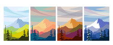 Vector Set Of Seasons Illustrations. Spring, Summer, Autumn, Winter - Landscapes With Mountains In A Flat Style. Hills, Trees And Clouds. Vector Horizontal Background