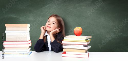 Fototapeta Portrait of modern, happy and cute teen school girl. obraz