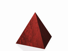 Red Marble Pyramid. The Isolated Object On A White Background. 3D Rendering