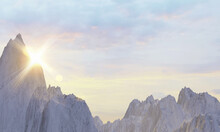 3D Rendering Of Tall Steep Snowy Rock Mountains With Sun Rise. Concept For Success Achievement, Relief, Relax, Hope, Nature Wallpaper Background Or Text Overlay.
