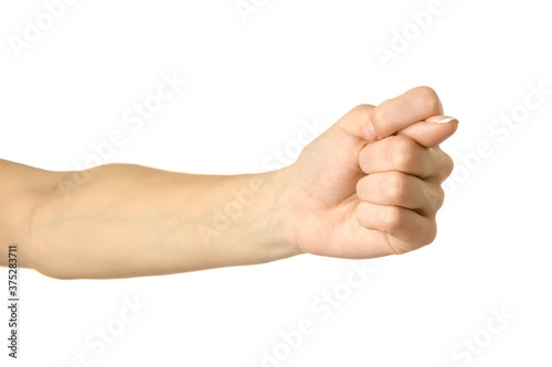 Fig sign. Woman hand gesturing isolated on white Canvas Print