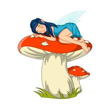 Cartoon Little Fairy Sleeping ...