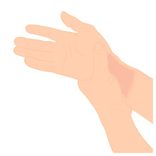 Pain In The Wrist, Man Holding Her Wrist Pain Because Ligament In The Wrist Area, Vector Illustration Concept Disease And Healthcare