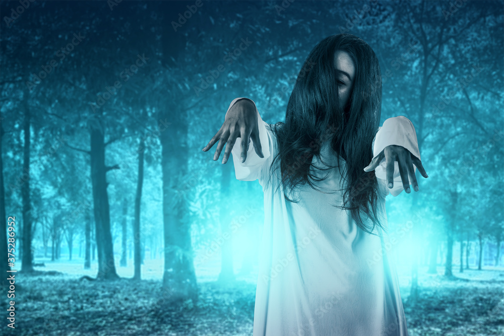 Fototapeta Scary ghost woman standing with haunted forest background