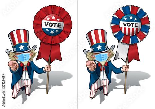 Fototapeta Uncle Sam I Want You to Vote - Surgical Mask obraz