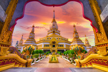 Beauty Of Chai Mongkol Pagoda (Maha Jedi Chaimongkol) At Sunset, Wat Pha Nam Thip Prasit Wanaram Temple, Roi Et , Thailand.
