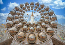 Five Buddhas At Wat Phra Thad Pha Son Kaew Temple, Take Picture Through Silver Balls At Phetchabun In Thailand
