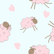 Seamless Pattern With Pink Sheep On A White Background. Print For Baby Fabric. Poster For Design.
