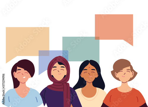 latin muslim indian and european women cartoons with bubbles vector design Fototapet
