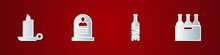 Set Burning Candle In Candlestick, Tombstone With RIP Written, Bottle Of Wine And Bottles Box Icon. Vector.