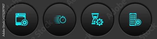 Set Oven setting, Stopwatch, Hourglass and Mobile Apps icon Fototapet