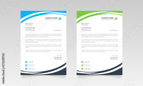 Modern business letterhead template vector design Billede på lærred