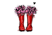 Vintage Red Wellies With Flowers. Rubber Boots With Tulips Flowers And Heart. Vector Illustration In Watercolor Style. Decoration Seasonal Sele Celebration. Hello Autumn Greeting Card.