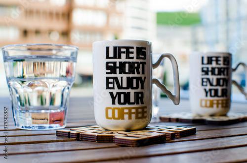 Obraz na plátně cup of coffee on a table