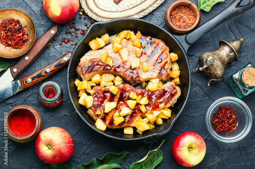 Fototapeta Meat steak with apple sauce obraz