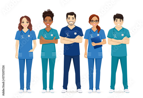 Fototapeta Multiethnic nurse characters group