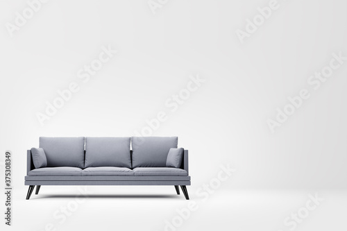 Fotografie, Obraz Grey couch with pillows on studio white background.