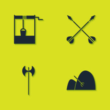 Set Well With Bucket, Bale Of Hay And Rake, Medieval Axe And Crossed Arrows Icon. Vector.