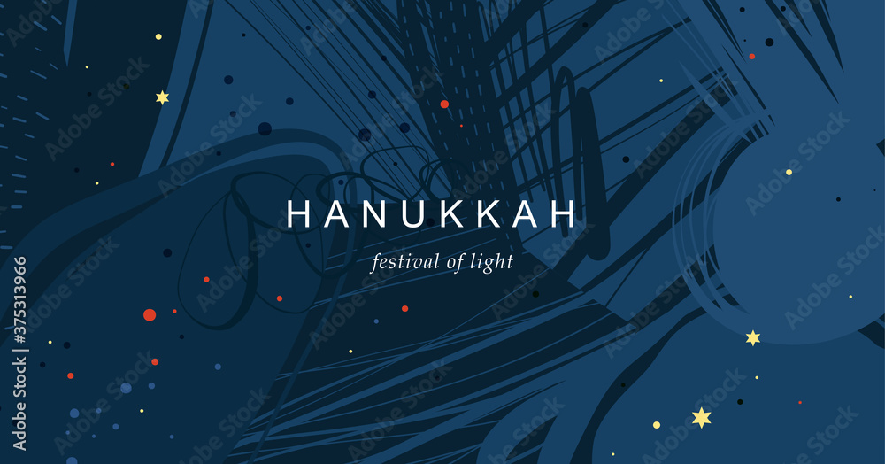 Fototapeta Festival of Lights Hanukkah. Abstract creative universal artistic template. Good for email header, social media post, AD, event and page cover, banner, background, poster and other graphic design.