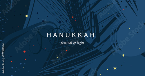 Festival of Lights Hanukkah. Abstract creative universal artistic template. Good for email header, social media post, AD, event and page cover, banner, background, poster and other graphic design.