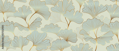 Fototapeta Golden Ginkgo leaves background vector. Luxury Floral art deco. Gold natural pattern design Vector illustration. obraz