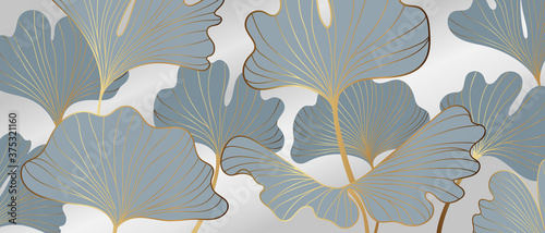 Golden Ginkgo leaves background vector Billede på lærred