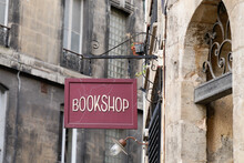 Bookshop Sign On Steel Plate Vintage Signage Of Bookstore In City Street In Ancient European City