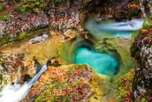 Autumn. Explosion Of Colors On The Waterfalls And Streams Of The Val D'Arzino.