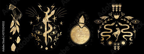 Obraz chic golden luxurious retro vintage engraving style. image of the sun and moon phases. culture of occultism. Vector graphics - fototapety do salonu