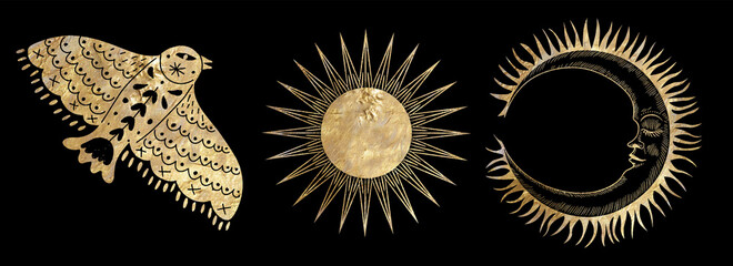 chic golden luxurious retro vintage engraving style. image of the sun and moon phases. culture of occultism. Vector graphics