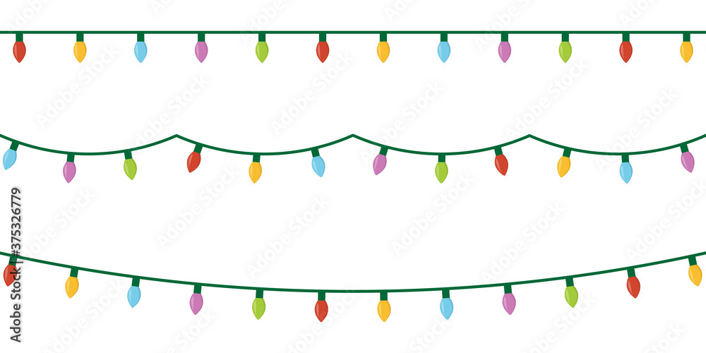 Fototapeta Christmas lights set icon on white background