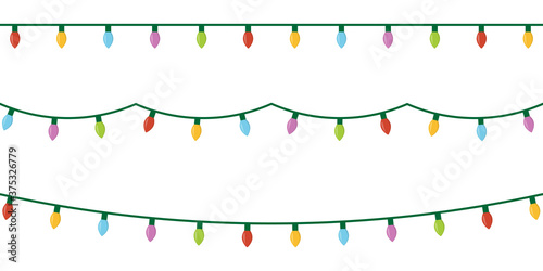 Obraz Christmas lights set icon on white background - fototapety do salonu