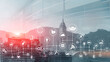 Smart city and internet concept 2021. Technology and communication on modern blurred City.