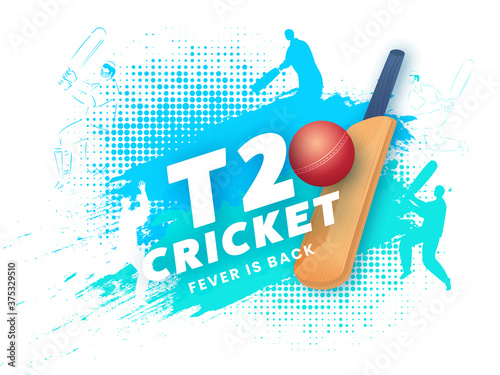 Foto T20 Cricket Text with Realistic Ball, Bat and Silhouette Players on Blue Halftone Brush Stroke Background