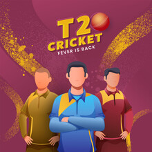 T20 Cricket Fever Is Back Text With Red Ball And Faceless Cricketers Character On Pink And Yellow Noise Brush Effect Background.