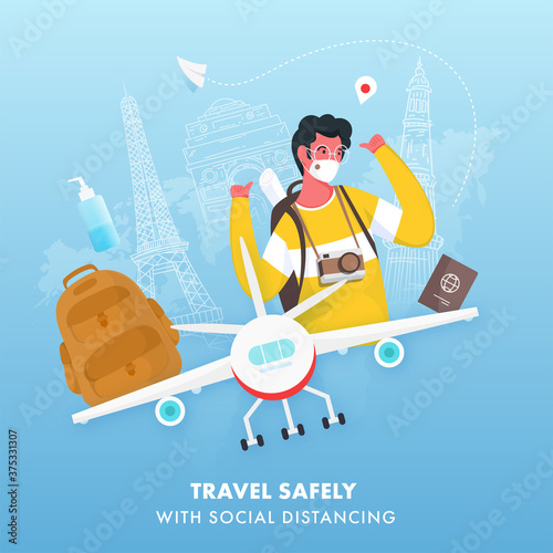 Travel Safely With Social Distancing Concept Based Poster Design, Cheerful Tourist Young Boy Wear Protective Mask and Airplane on Blue Line Art Famous Monuments Background.