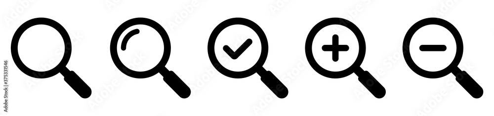 Fototapeta Magnifying glass simple icon collection. Search icon set. Vector