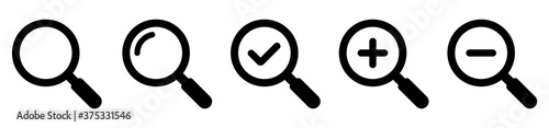 Photo Magnifying glass simple icon collection. Search icon set. Vector