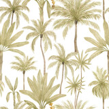 Watercolor seamless pattern with tropical palm trees. Coconut and banana palm. Gently green background with wildlife jungle elements. Aesthetic vintage wallpaper, wrapping - 375332984