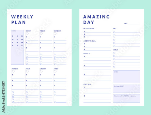 Obraz 2 Set of minimalist planners. Daily and weekly planner template. Clear and simple printable to do list. Business organizer page. Paper sheet. Realistic vector illustration. - fototapety do salonu