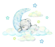 White Bear Sleeps On The Moon And Clouds. Watercolor Concept On An Isolated Background. Winter Picture Drawn By Hand, Cartoon Style.