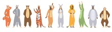 Set Of Kigurumi Or Animal Onesies For Kids Showing Ten Different Outfits, Colored Vector Illustration On White