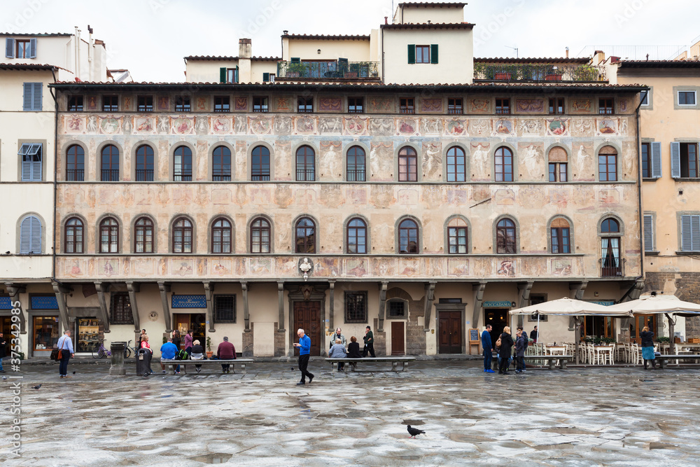 FLORENCE, ITALY - NOVEMBER 6, 2016: Palazzo dell Antella on Piazza di Santa Croce. Piazza Santa Croce is one of the main plazas or squares located in the central part of Florence city