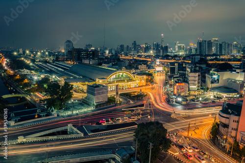 Bangkok cityscape with Bangkok train station Canvas