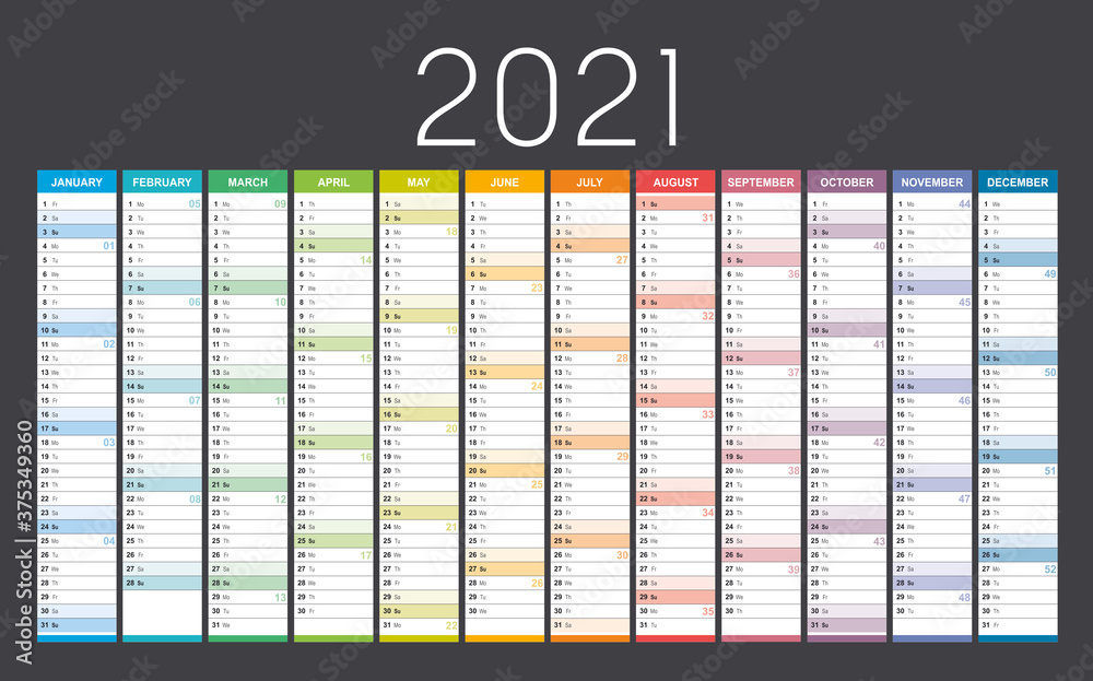 Year 2021 colorful wall calendar, with weeks numbers, on black background. Vector template.
