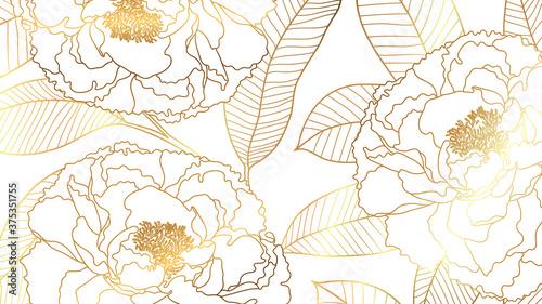 Obrazy kolor złota  luxury-rose-golden-art-deco-wallpaper-nature-background-vector-floral-pattern-with-golden-flower-line-art-vector-illustration