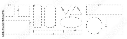 Valokuva Coupon template with cut out dashed or dotted lines and scissors arrow showing c