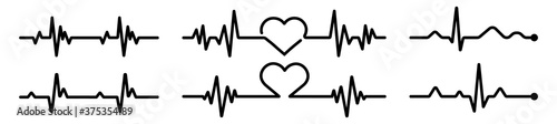 Heart icon in linear design isolated vector signs, medical health care, love pas Canvas Print