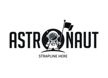 Astronaut In Space Standing On, And In Front Of, A Moon Or Planet Holding A Flag. Vector Logo/illustration