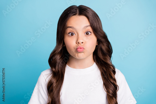 Close-up portrait of her she nice attractive lovely funny girlish naughty wavy-h Canvas Print